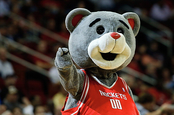 The Houston Rockets mascot Clutch