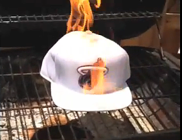 Miami Heat fan Burns Lebron James Jersey