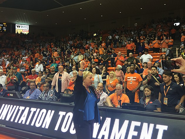 Coach Adams graciously thanked the fans for their support during their WNIT run. (Photo by Brandon Cohn)
