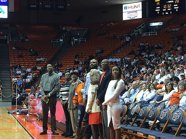 Jeep Jackson's family watches an emotional halftime tribute on Thursday night as the Miners faced UAB. ( Photo by Brandon Cohn)