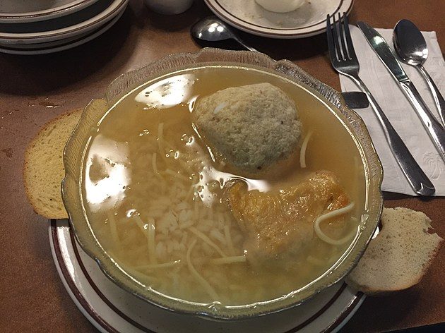 Canter's Deli in Los Angeles has been an institution since 1931 offering some of the best corned beef and pastrami you can find.  Here is the famed Mish Mosh soup which features a matzo ball, kreplach, rice and noodles.  (Photo by Brandon Cohn)