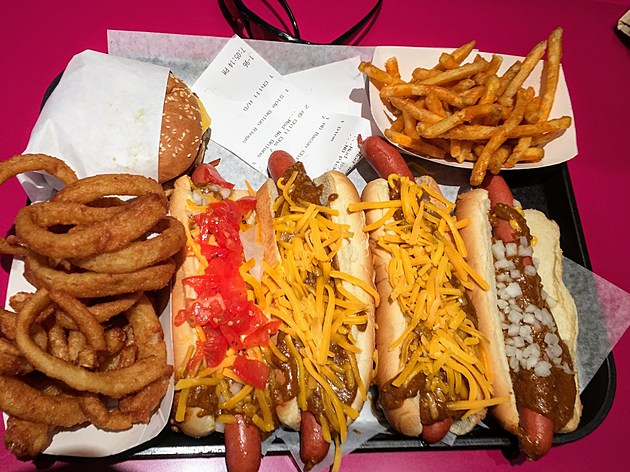 Pink's chili dogs at Universal City Walk in Hollywood.  (Photo by Brandon Cohn)