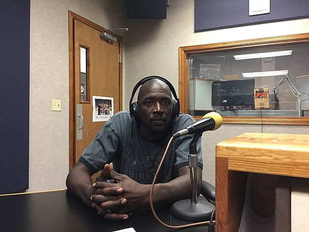 Omar Thomas in studio for Crunchtime in July. (Photo by Brandon Cohn)