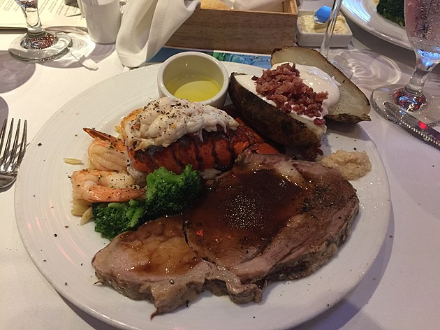 The surf n turf which included a Maine lobster tail and prime rib was out of this world!