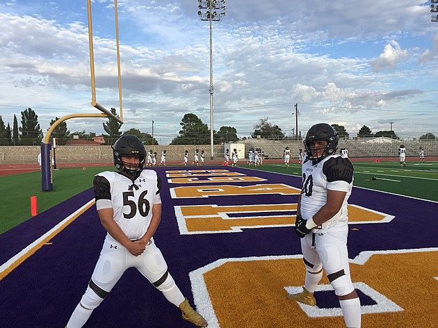 Panthers DL Luis Rangel and G Christian Valles prepare for their game verses Burges. (Photo by Brandon Cohn)